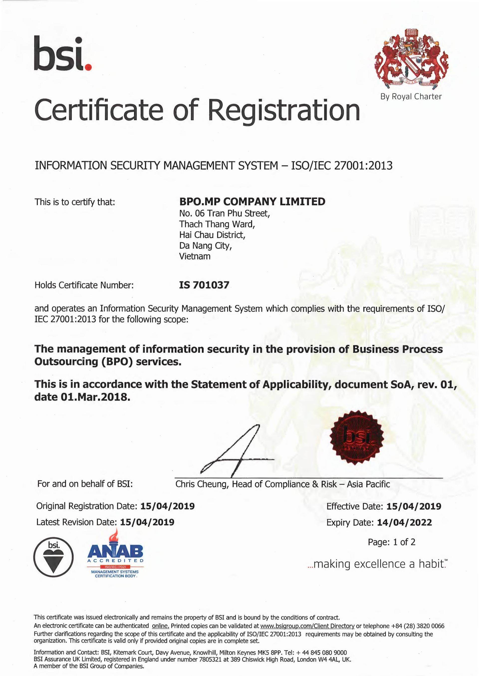 BPO.MP Achieved Certificate Of Registration: Information Security Management System – ISO/IEC 27001:2013