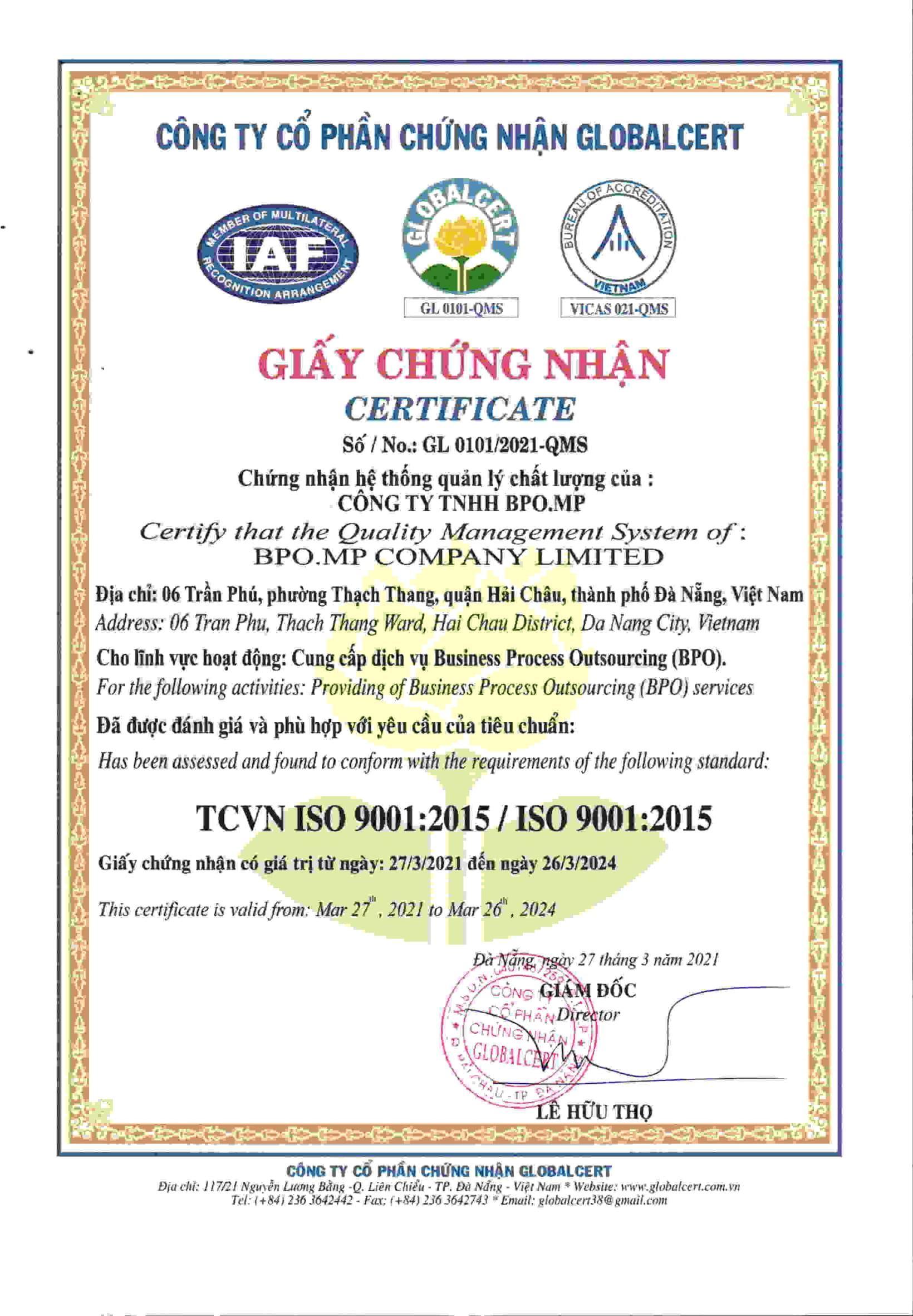 BPO.MP ĐẠT CHỨNG NHẬN ISO 9001:2015 VỀ HỆ THỐNG QUẢN LÝ CHẤT LƯỢNG